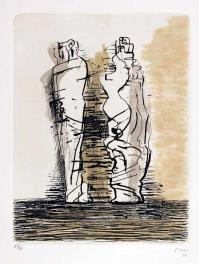 Henry MOORE, two drapped standing figures